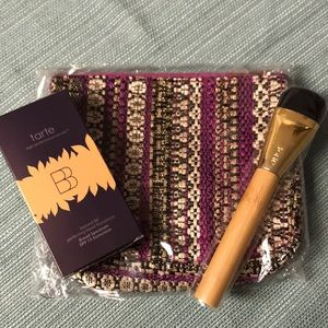 Tarte foundation, brush and cosmetic bag